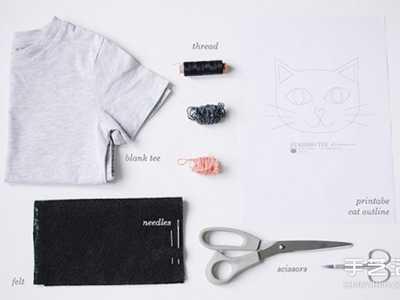 兒童t恤圖案 兒童T恤改造DIY用不織布制作可愛貓咪圖案